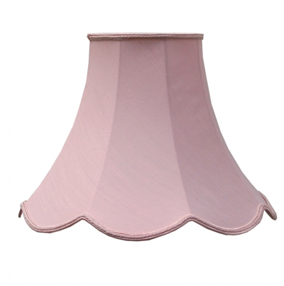 Scalloped Bowed Candle Pink Dupion